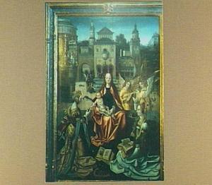 Maria met kind, de HH. Catharina en Barbara (?) en musicerende engelen