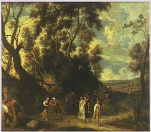 Boslandschap met Rebekka, die Eliezer bij de bron uit haar kruik te drinken  geeft (Genesis 24:10-21)