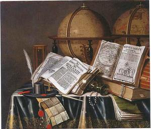 Vanitasstillleven met roemer, twee globes, boeken en andere voorwerpen op een gedekte tafel