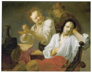 Op een stoel hangende man in een bordeel (De verloren zoon?)