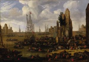 Gezicht op een drukke haven met figuren en schepen