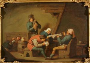 Zingende en musicerende boeren in een interieur; allegorie op het Gehoor
