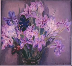 Stilleven met paarse irissen