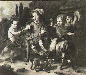 Portret van Willem Woutersz. Oorthoorn (1658-?), met drie onbekende kinderen