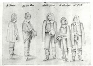 Groepsportret van een man uit de familie Sandys, een man uit de familie Percy, een man uit de famiie Jermyn, een man uit de familie Montagu en Daniel O'Neill (c. 1612-1664)