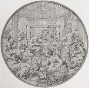 Penelope en haar dienaressen weven en spinnen in afwachting van Odysseus' terugkeer