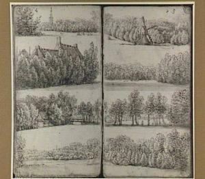 Vier boslandschappen met molen, boerderijen en een toren