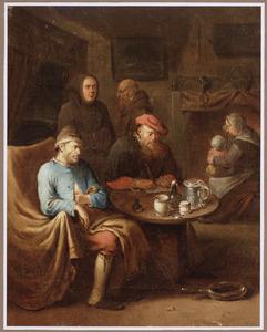 Een zieke met een dokter en twee bezoekende monniken