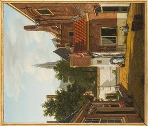 Hofje te Haarlem met in de achtergrond de Grote of Sint-Bavokerk