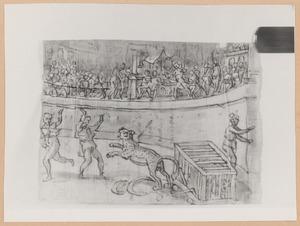Keizer Commodus doodt een ontsnapte tijger in de arena
