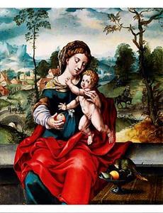 Maria met kind voor een landschap. In de achtergrond de rust op de vlucht naar Egypte