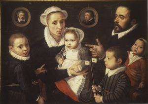 Portret van de familie van Frans Francken I (1542-1616) , Elisabeth Mertens (....-1639) en kinderen