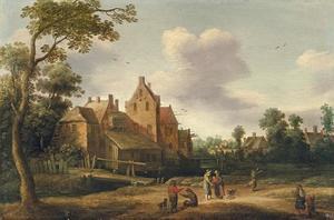 Landschap met boeren bij een dorp