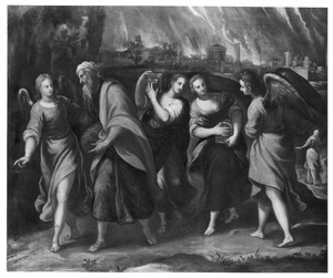 Lot en zijn dochters verlaten het brandende Sodom en Gomorra
