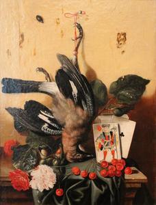 Trompe-l'oeil van een Vlaamse gaai tegen een houten wand en kersen