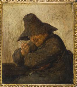 Lachende man met een rommelpot; allegorie op het gehoor