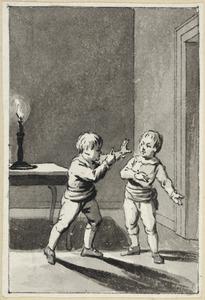 Illustratie voor 'De onbedagtzaamheid' in de Kleine gedichten voor kinderen door H. van Alphen