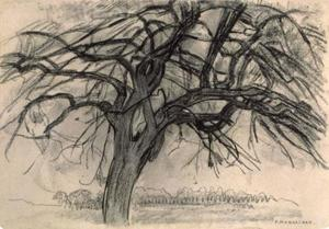 Preliminary study for evening: the red tree