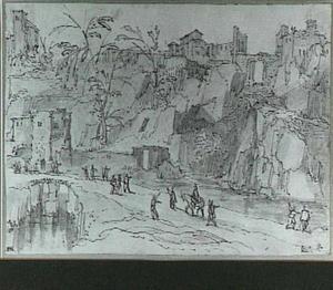 Rotslandschap met klassieke ruïnes