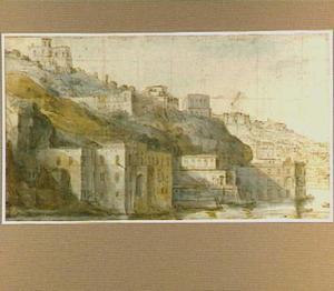 Gezicht op Mergellina aan de baai van Napels, op de achtergrond Capodimonte