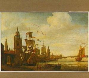 Fantasiegezicht op de haven van Antwerpen