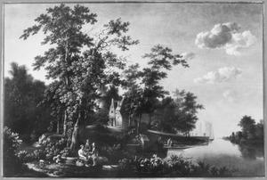 Landschap met een aanlegplaats bij een herberg