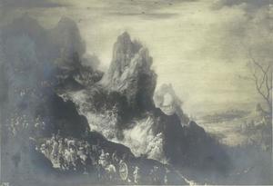 Een leger optrekkend door een bergpas