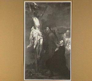 Christus aan het kruis met de HH. Franciscus van Assisi en Bernhard van Clairvaux, die de donor Francesco Orero begeleiden