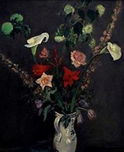 Stilleven met bloemen in witte kan