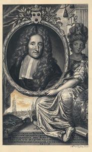 Portret van Hendrik van Bleyswijck (1628-1703), met in de achtergrond de Oude en Nieuwe Kerk in Delft