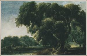 Landschap met een rivier en een grote boomgroep in de voorgrond