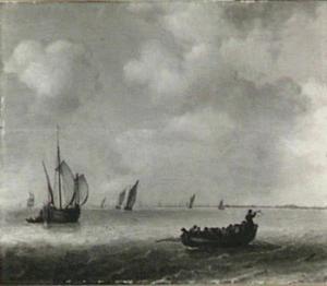 Zeilschepen en sloep op kalm water