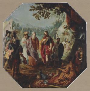 Mozes beveelt Pinechas en zijn vader, de priester Eleazar om het vee, de vrouwen en zoons der Midjanieten te doden en al wat door vuur gereinigd kan worden te ontzondigen (Numeri 31:1-24)