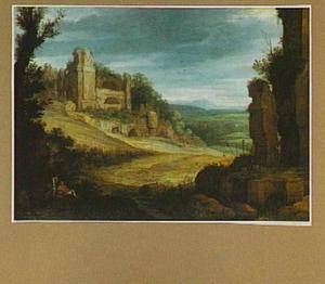 Landschap met klassieke ruïnes en vogelvangers