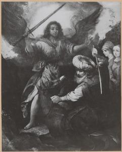Bileam slaat zijn ezelin tot drie keer toe, terwijl deze neerknielt voor de engel, die haar de weg verspert (Numeri 22:22-35)