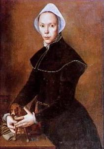 Portret van een vrouw met een schoothondje