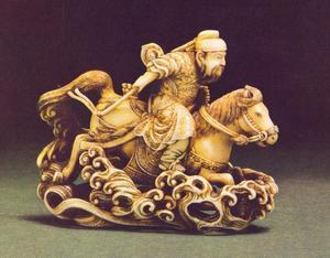 De Chinese Generaal Gentoku rijdend door het water, netsuke