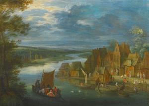 Dorp aan een rivier met een zeilboot