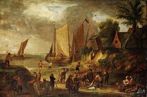 Kustslandschap met schepen, vissers en arbeiders