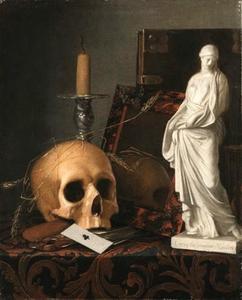 Vanitasstilleven met schedel, speelkaart, gedoofde kaars, spiegel en marmeren beeldje