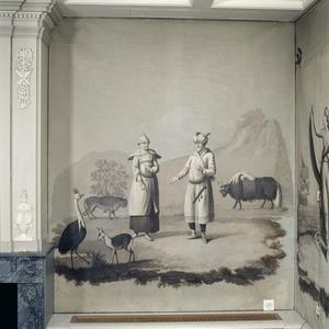 Twee oosterlingen (een Tibetaan en een Indiër?) met een tijger, een jak, een casuaris en en wilde geit