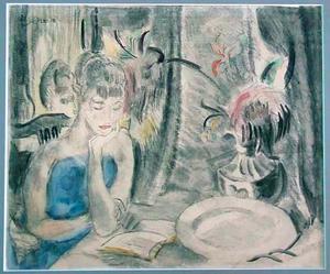 Lezende vrouw aan tafel (Greet)