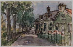 Straat met huis en bomen