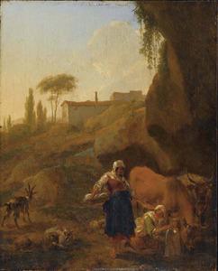 Zuidelijk landschap met twee boerenvrouwen en vee aan de waterkant