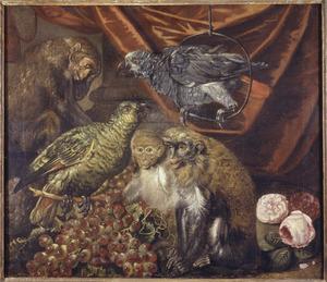 Diervoorstelling met apen, papegaaien, druiven en rozen