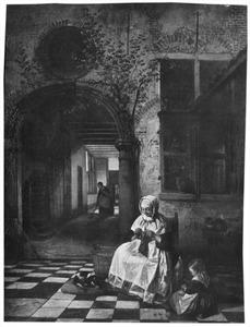 Breister en kind op een binnenplaats