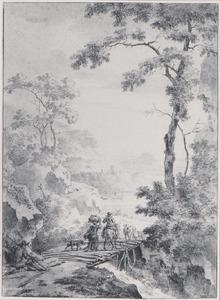 Berglandschap met figuren op een houten brug