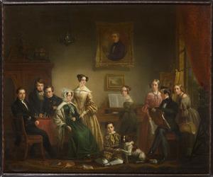 Portret van de familie van Cornelis Rogaar Snellebrand (1790-1840) met zelfportret van de schilder