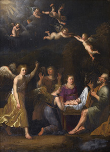 De aanbidding van het Christuskind door Jozef, Maria en de engelen
