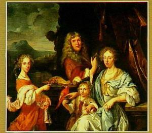 Portret van een onbekend echtpaar met twee kinderen